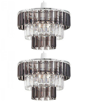 Pair Of Modern Clear Smoked Crystal Ceiling Light Shade Pendant Chandel