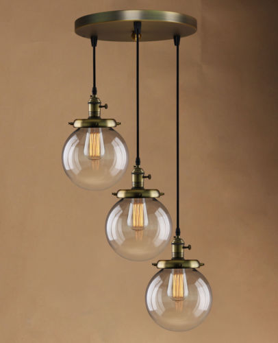 Retro Vintage Cluster Hanging Ceiling Lights Globe 3 Glass Shades Pendant Lamp Cheap Chandeliers Uk