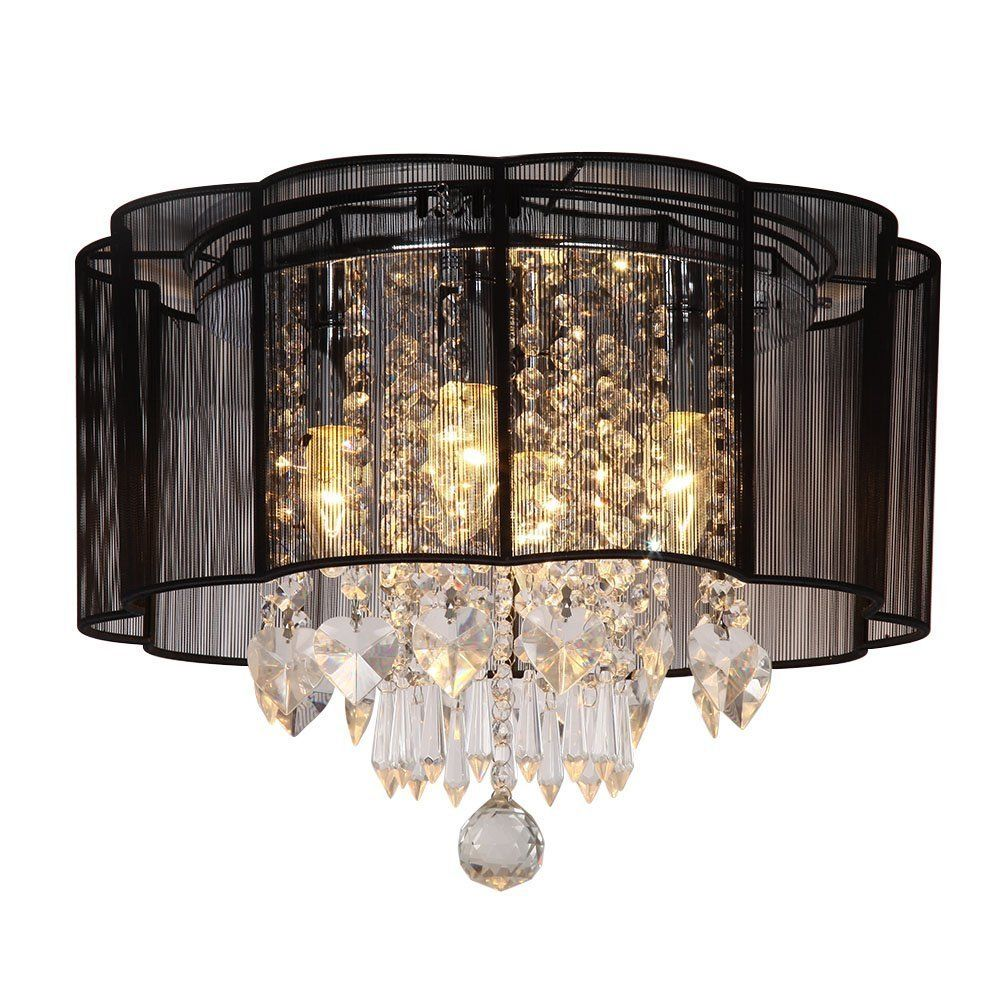 Modern 4 Lights Black Flush Mount String Shade Crystal