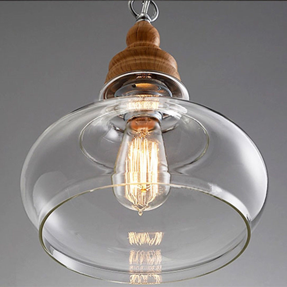 Retro Pendant Ceiling Light Glass Lamp Shade Vintage