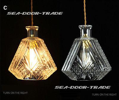 Vintage Retro Romantic Clear Glass Bottle Shade Chandelier Pendant Lamp Ceiling Cheap