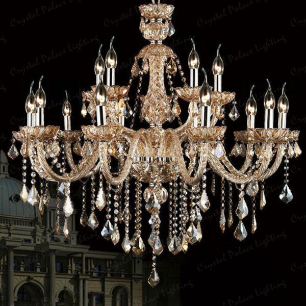 Antique Candle Chandeliers Champagne Crystal Chandelier: Crystal Chandelier Champagne 6, 8, 10, 10+5, 12+6 Lights