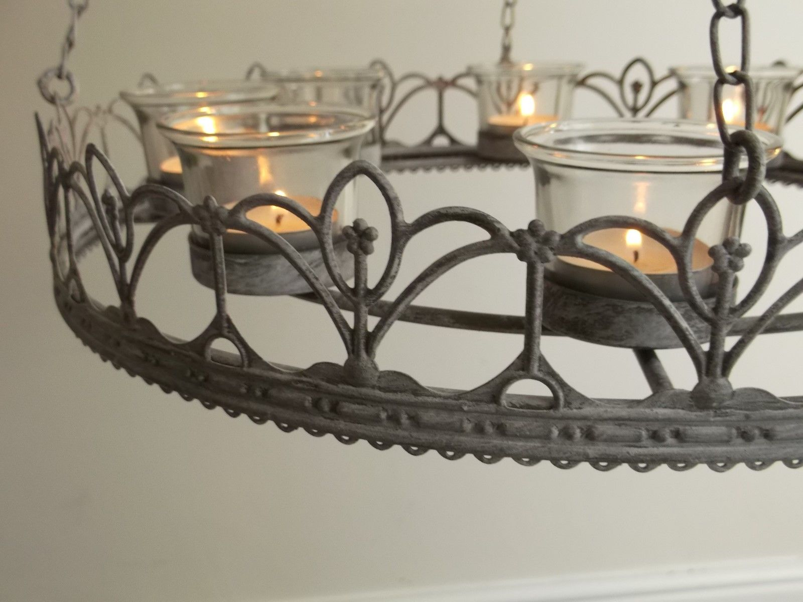 Vintage Style French Grey Hanging Tea Light Chandelier Candle