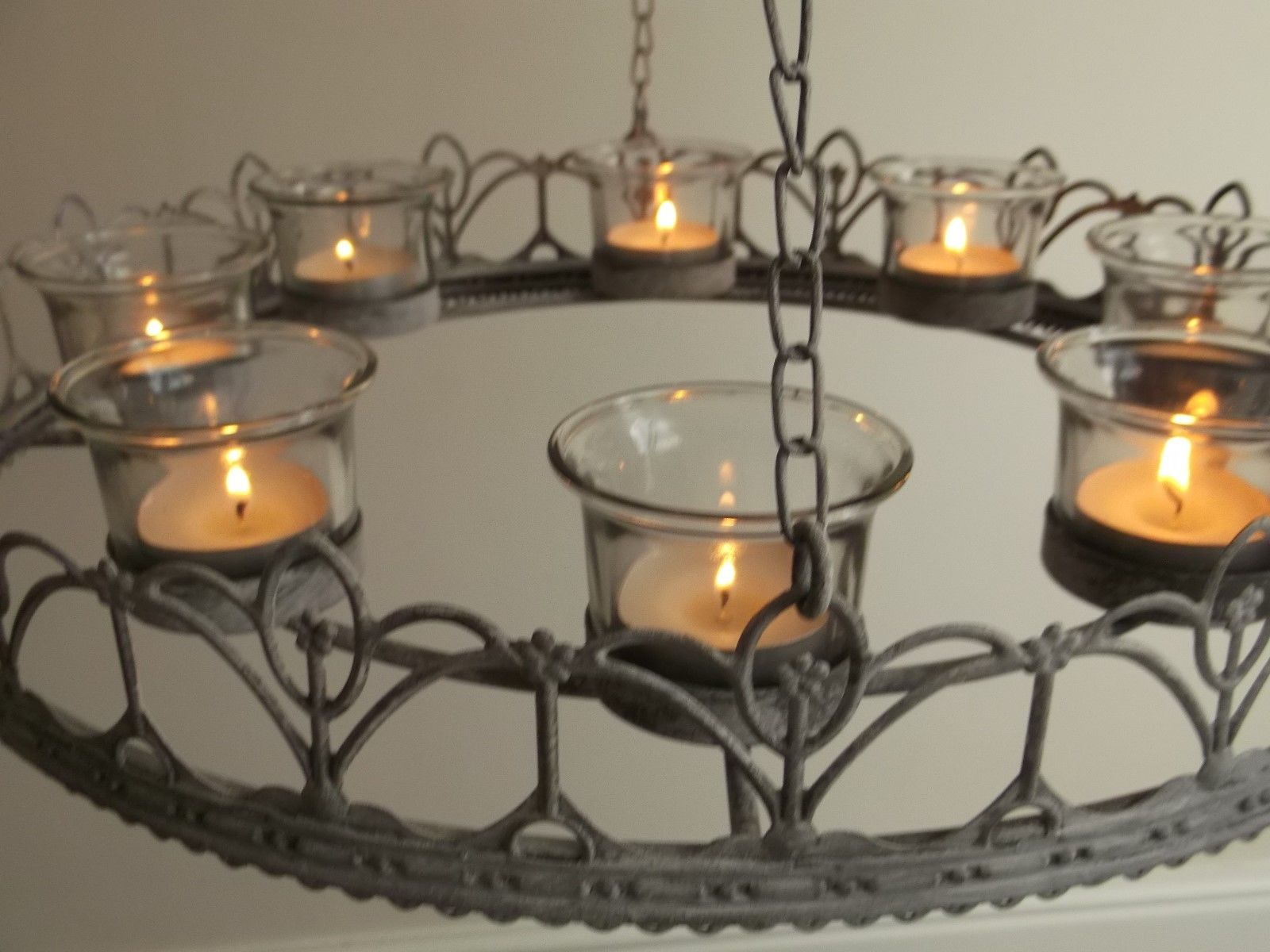 Vintage style french grey hanging tea light chandelier candle holder vintage style french grey hanging tea light chandelier candle holder metal new arubaitofo Gallery