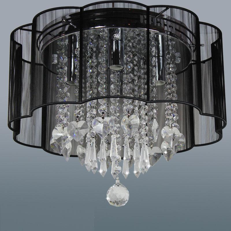 Modern 4 Lights Black Flush Mount String Shade Crystal Chandelier Ceiling Light Cheap