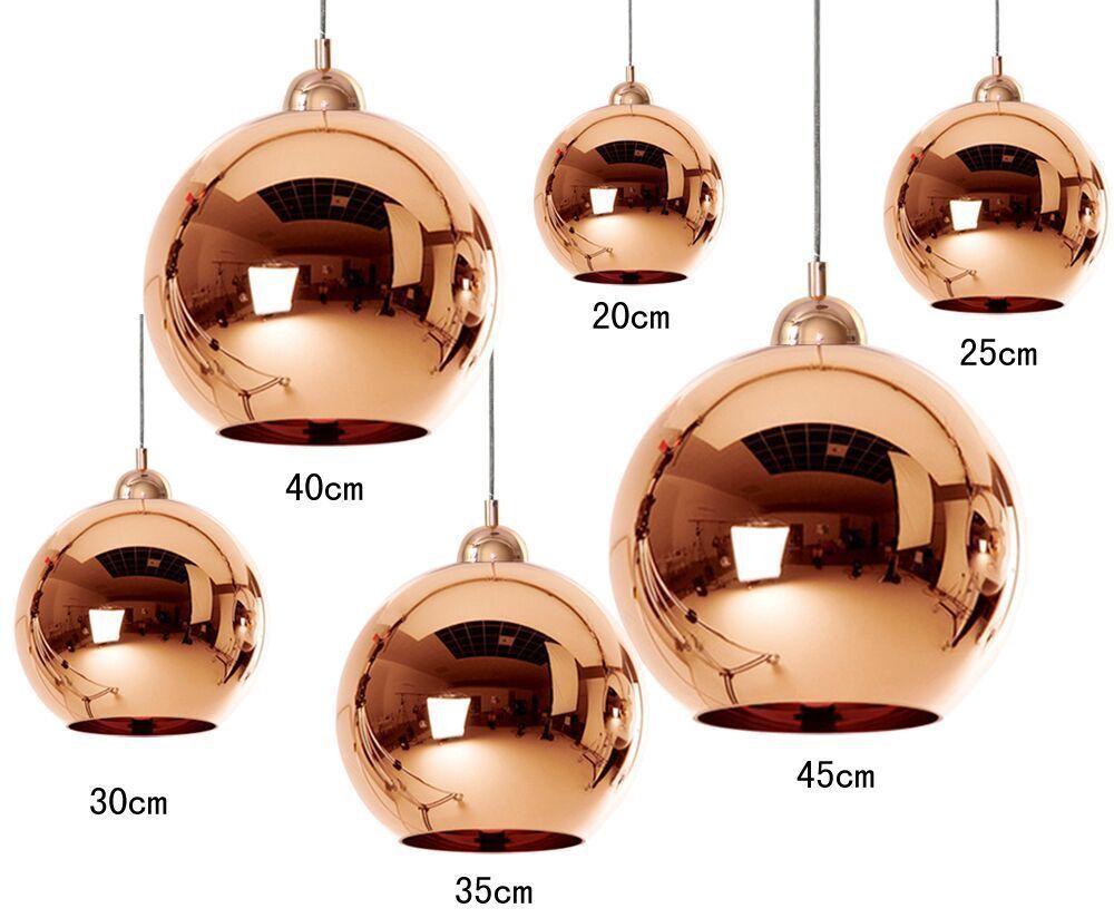 6 Size Copper Mirror Glass Ball Ceiling Light Pendant Lamp