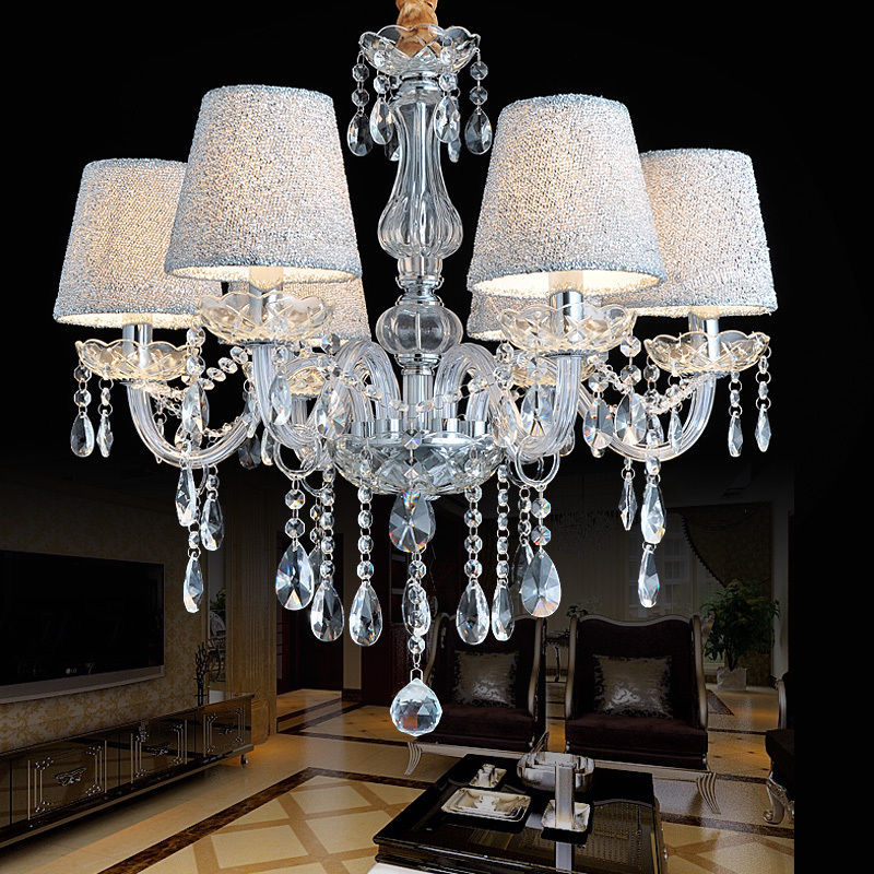 Crystal chandelier clear 6810 arm candle lamp water droplet with crystal chandelier clear 6810 arm candle lamp water droplet with lampshade aloadofball Choice Image