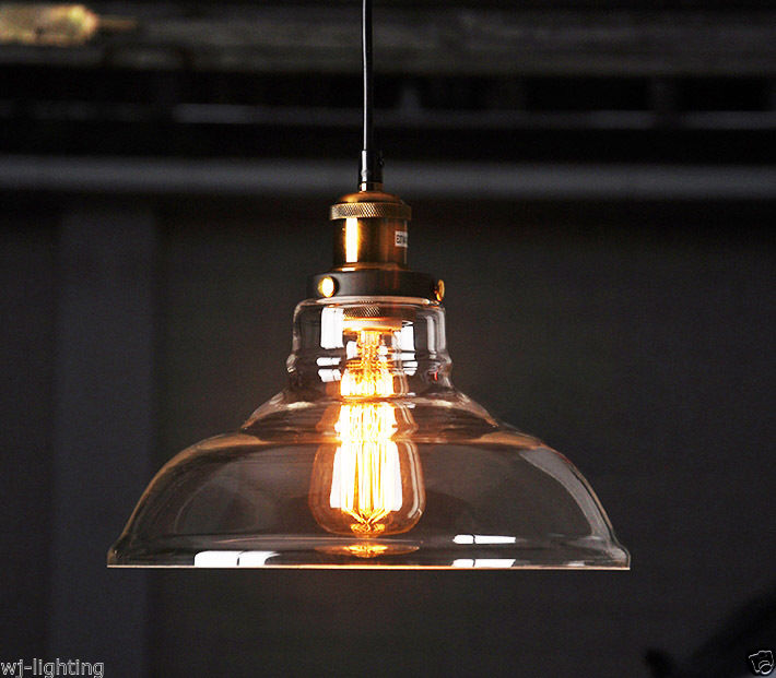 Clear Glass Shade Ceiling Vintage Retro Chandelier Fitting
