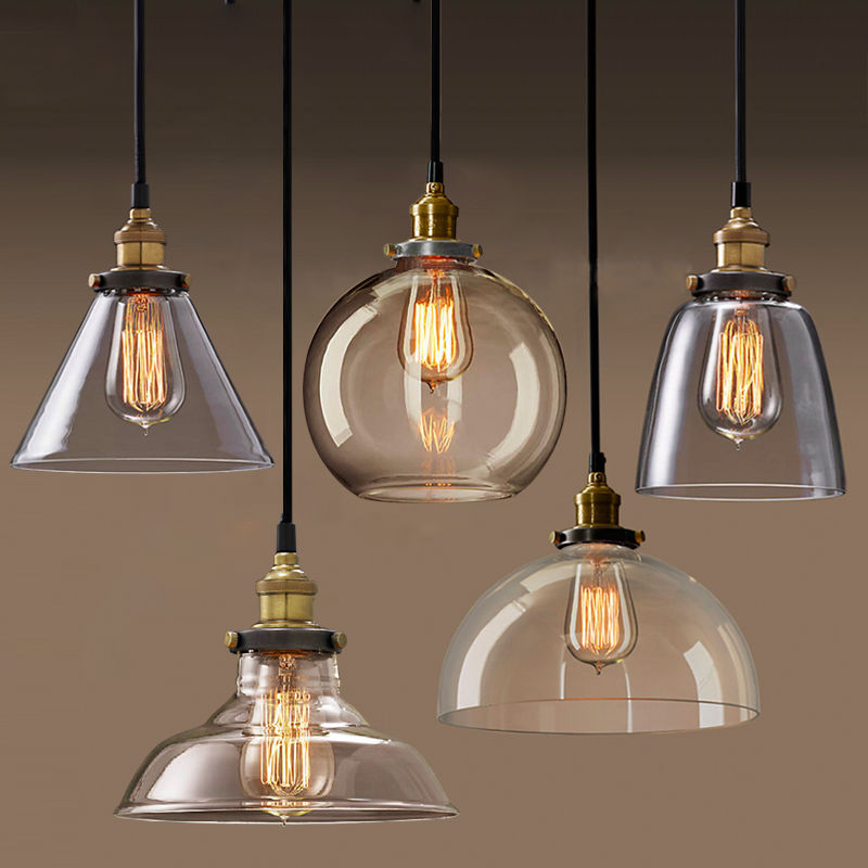 Permo Pendant Light Chandelier Vintage Industrial Clear Glass Chrome Brass Lamp