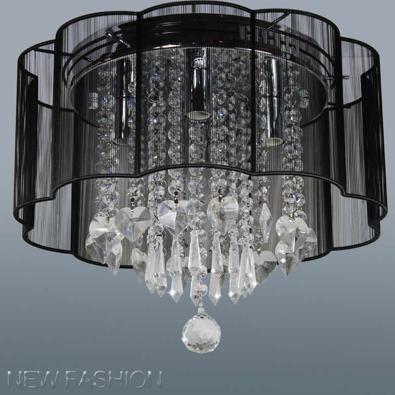 Modern 4 Lights Black Flush Mount String Shade Crystal