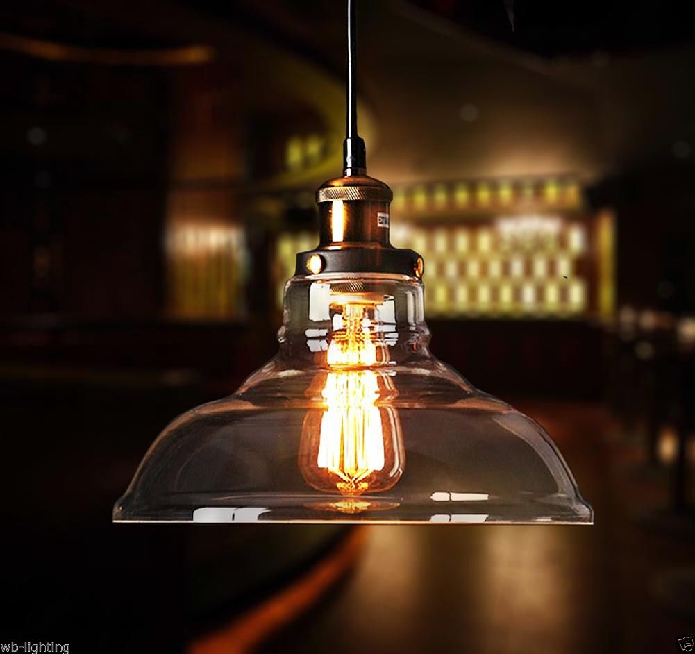 Modern Clear Vintage Glass Ceiling Lamp Shade Pendant