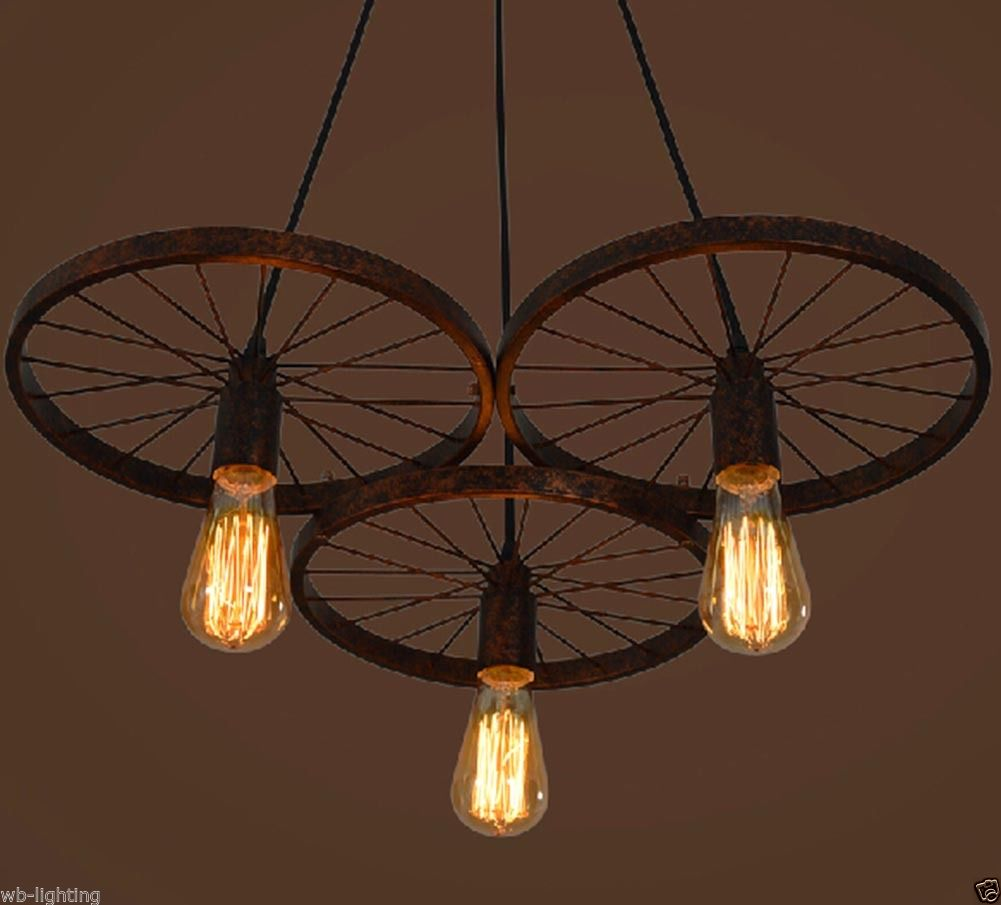 1 3 Heads Industrial Diy Bar Vintage Wheel Chandelier
